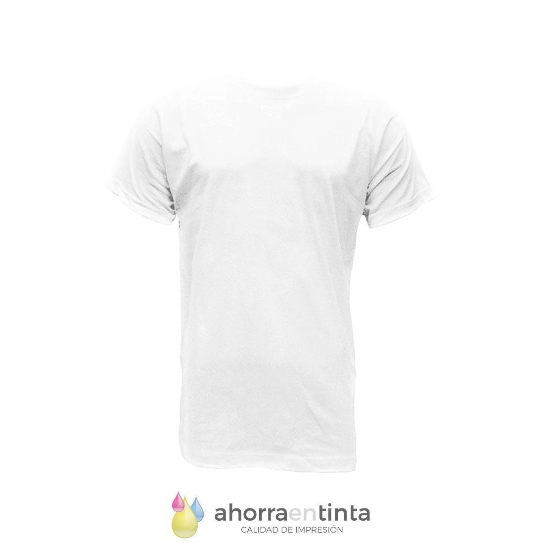 Camiseta Poliester Blanca 160gr -TACTO ALGODON- ANBOR Bonny HOMBRE. Tallas XS a XXL