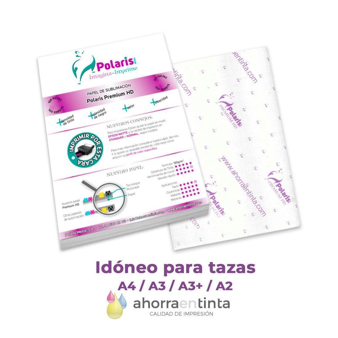 Papel sublimación Polaris PREMIUM HD, para impresoras Epson, pack 100 hojas